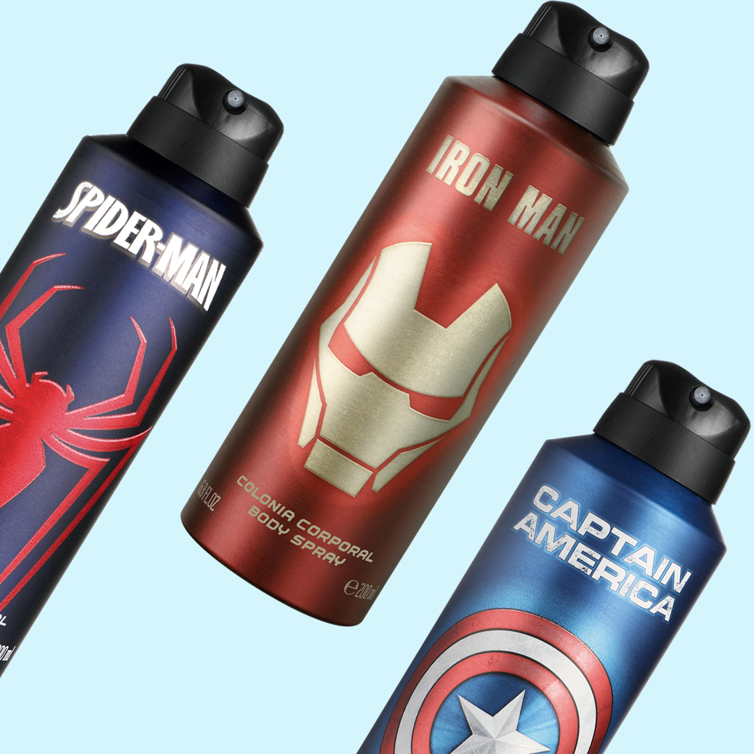 Body Sprays de Spider-Man,<br>Iron Man y Capitán América