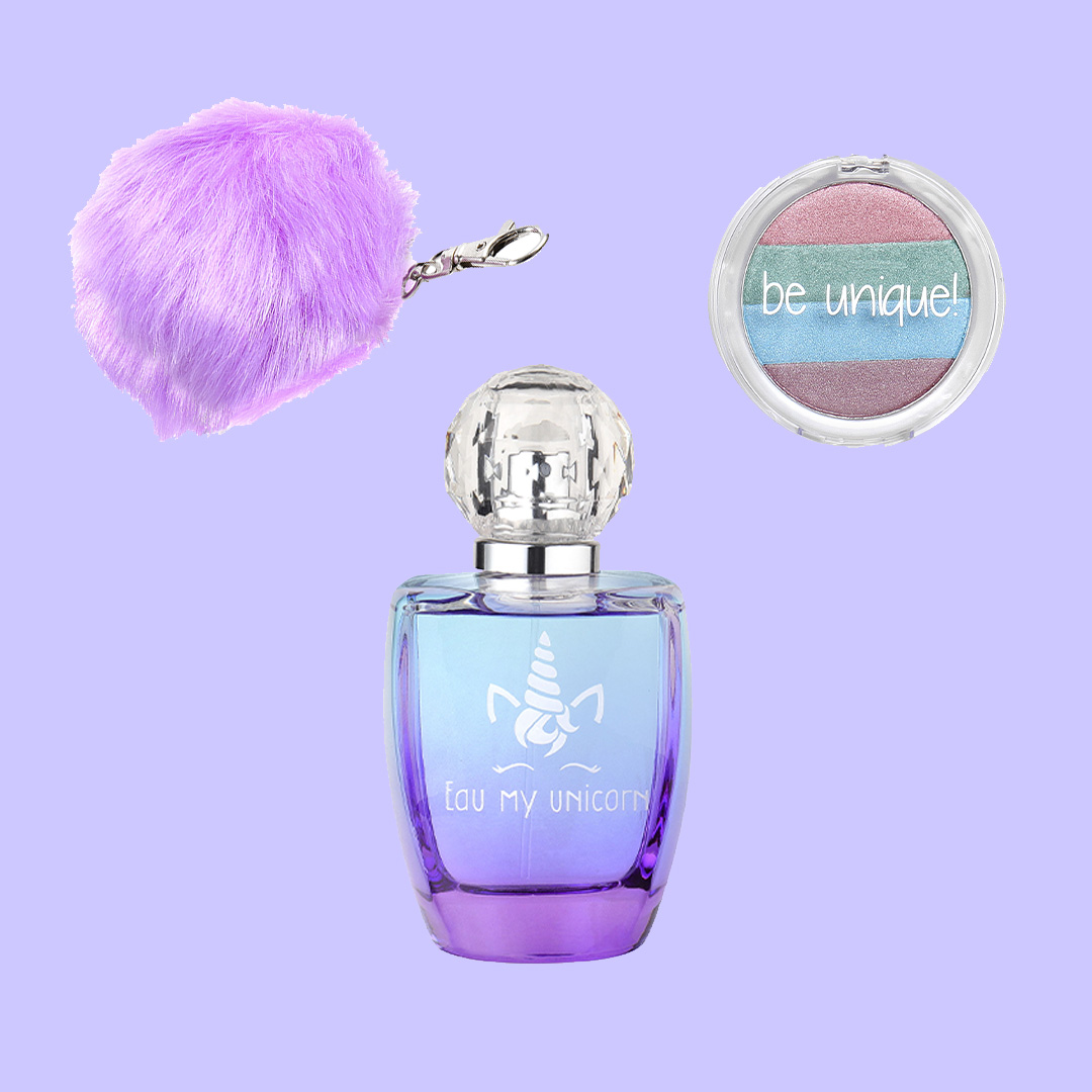 Gift Set with EDT, Cosmetics <br>& Pompom Key Ring