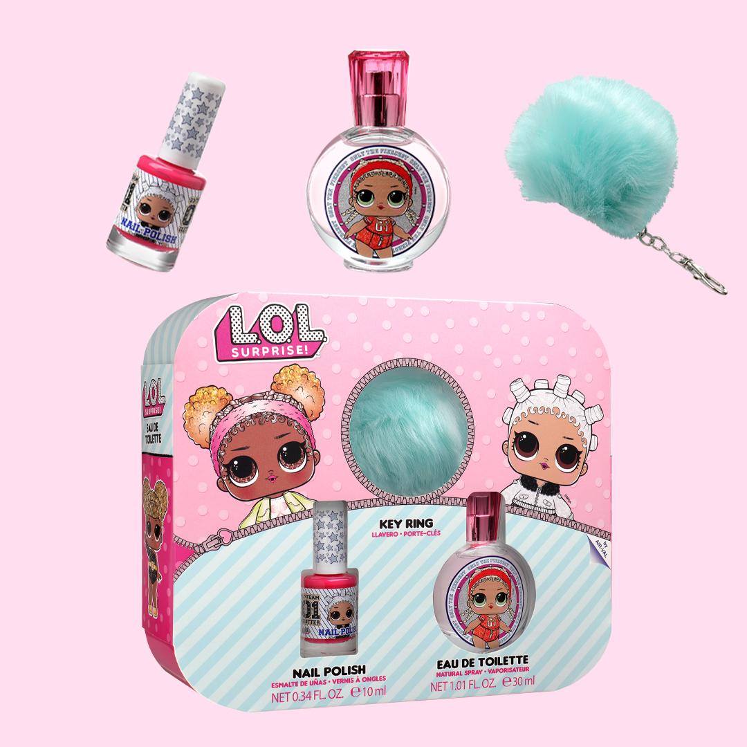 Gift Set with EDT, Nail polish<br>& Pompom Key Ring